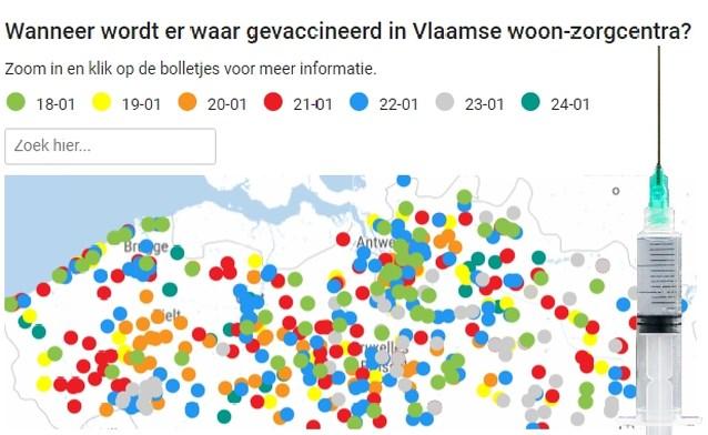 KAART. Bekijk hier in welke Vlaamse woon-zorgcentra deze week gevaccineerd wordt