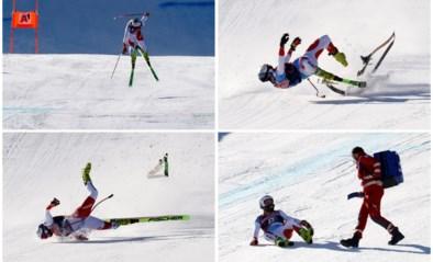 Met de finish in zicht: skiër vliegt akelig lang door de lucht en crasht aan 150km/u tijdens afdaling in Kitzbühel