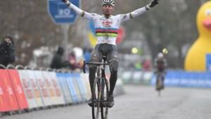 Mathieu van der Poel wint voor vijfde keer op rij in Flandriencross in Hamme, moedige Wout van Aert tweede