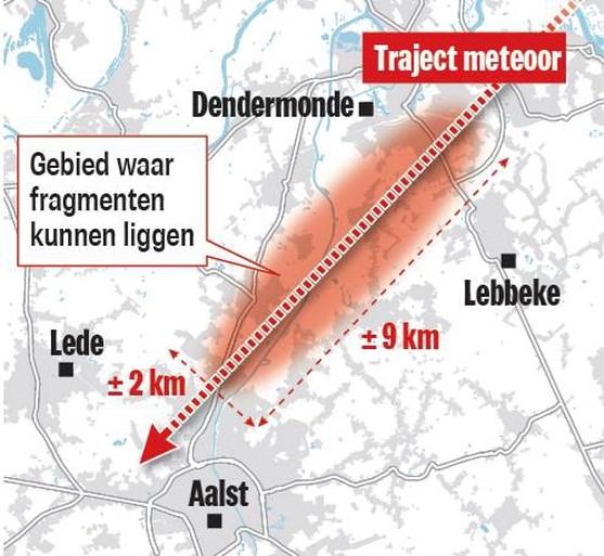 Wellicht stukjes meteoriet neergestort in Denderstreek: hoe groot is de kans dat je ze vindt?