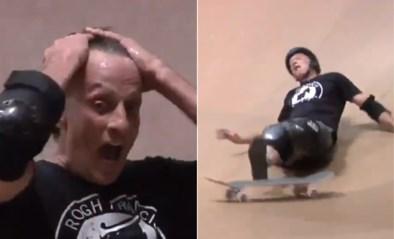 Skatelegende Tony Hawk (52) breekt bijna zijn rug, maar landt dan aartsmoeilijk truc en gilt het uit van blijdschap