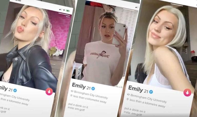 Emily (21) is stomverbaasd wanneer Tindermatch één detail op al haar Tinderfoto's opmerkt
