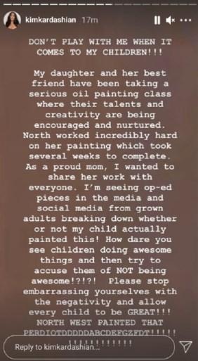 Kim Kardashian deelt schilderij van 7-jarig dochtertje en verdeelt meteen het internet
