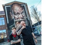 Graffitikunstenares Djoels maakt muurschildering van acteur Manou Kersting