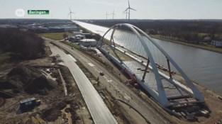Enorme brug in Beringen bijna klaar om over Albertkanaal geplaatst te worden