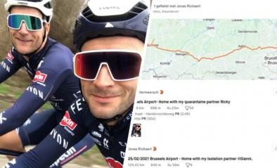 Quarantaine-duo Gianni Vermeersch (137 km) en Jonas Rickaert (124 km) fietst van Zaventem naar huis in West-Vlaanderen