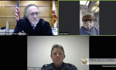 Arts neemt deel aan videovergadering van rechtbank… tijdens operatie