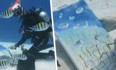 Uniek: Russische kunstenares verwerft wereldfaam door te schilderen onder water