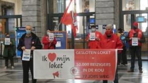 Betoging in Brussel tegen sluiting van NMBS-loketten