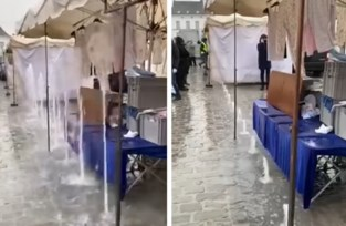 Oeps, fonteinen vergeten uit te zetten: marktkramer in Harelbeke krijgt koude douche