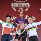 Het podium van de Strade Bianche.
