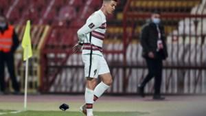 Cristiano Ronaldo reageert nadat hij nog voor affluiten woest het veld verliet na onterecht afgekeurd doelpunt