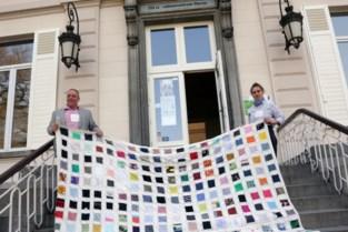 Kunstenares hijst lappenvlag aan Hof De Bist in Ekeren