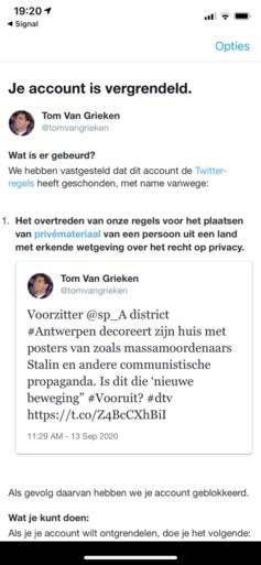"""Twitter blokkeert account van Vlaams Belang-voorzitter Tom Van Grieken: """"Ver gekomen als ik zoiets niet zou mogen aankaarten"""""""