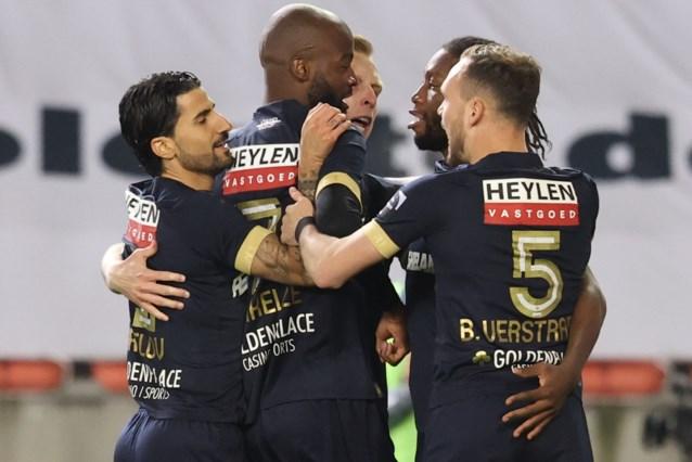 Antwerp verzekert zich met tien man van Play-off 1 na felbevochten zege op Moeskroen, Cercle Brugge gered dankzij uitslag
