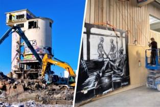 Stukje van de gesloopte betoncentrale blijft bestaan … aan een muur in Lokeren