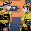Wout van Aert en Primoz Roglic rijden zondag voor het eerst samen in koers dit jaar.