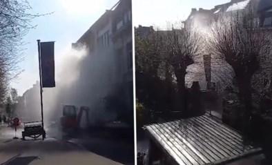 Bijzonder beeld in Antwerpen: leidingbreuk veroorzaakt metershoge waterstraal