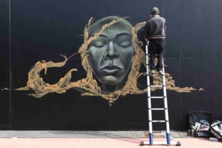 """Graffiti-artiest WAF spuit kunstwerk op fietstunnel in... Mol: """"In Aalst kan er weinig als het niks met carnaval te maken heeft"""""""