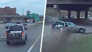 Roekeloze bestuurder wil nog op laatste moment afrit nemen, maar dat verloopt niet zonder ongelukken