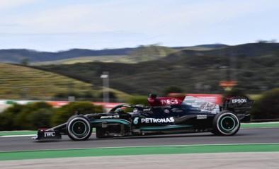 Lewis Hamilton tijdens tweede oefensessie GP van Portugal net iets sneller dan Max Verstappen