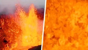 Drone smelt tijdens tocht boven uitbarstende vulkaan