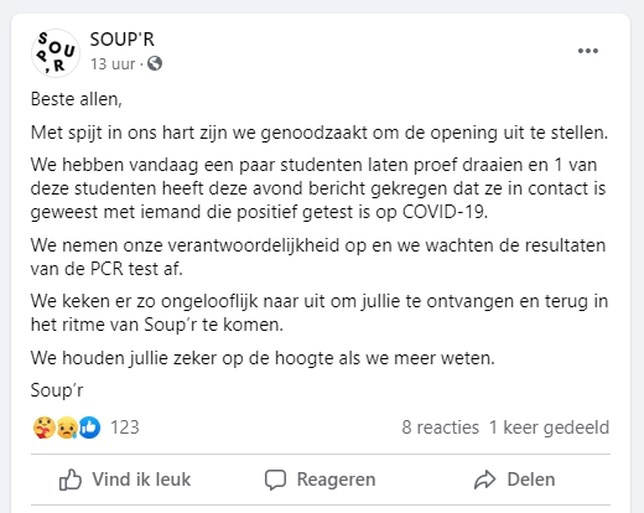 Populaire soepbar Soup'r moet geplande opening onverwacht uitstellen