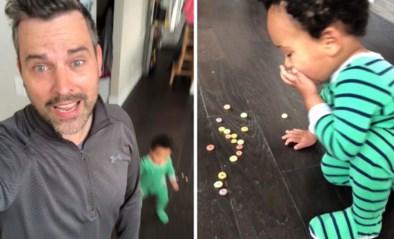 Man bedenkt eenvoudig maar slim trucje om te verhinderen dat zijn zoontje (1) dingen van de vloer eet