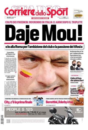 """Tot 17 (!) pagina's over Italiaanse terugkeer José Mourinho, maar Britten hebben géén idee wat hij bedoelt met """"Daje Roma"""""""