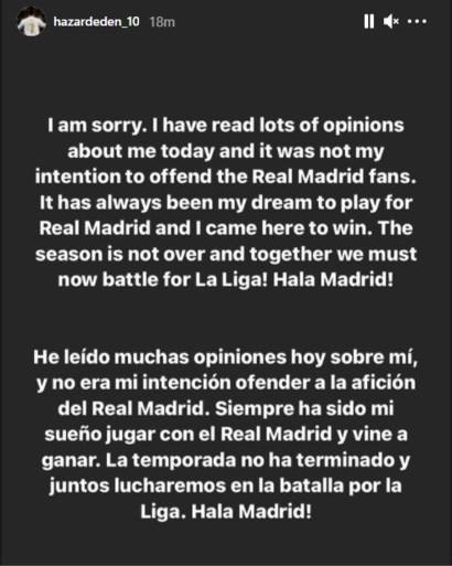 """Eden Hazard verontschuldigt zich bij fans voor beelden na uitschakeling: """"Nooit mijn bedoeling fans Real te beledigen"""""""