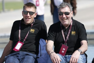 Axel Merckx (links) en Eddy Merckx (rechts).
