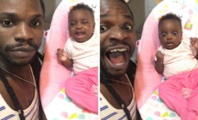Vader bedenkt luidruchtig trucje om dochtertje te doen ophouden met huilen