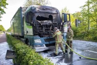 Vrachtwagen met houtsnippers vat vuur langs Expresweg in Brugge
