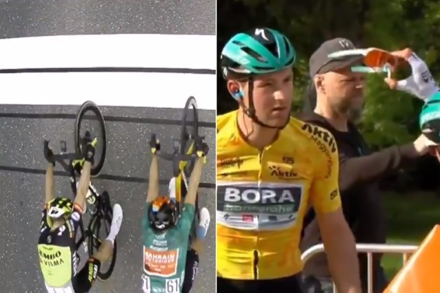 Ploegmakker van Wout van Aert juicht te vroeg na dolle sprint in Hongarije, gele trui Jordi Meeus crasht en wordt gecheckt door teamgenoot