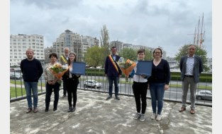 Medaillewinnaars EK turnen Brent Deklerck (14) en Evi Milh (20) gehuldigd