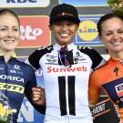 Gracie Elvin (links), medeoprichtster van de TCA werd in 2017 tweede in de Ronde van Vlaanderen voor vrouwen.