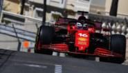 Ferrari bovenaan tijdens tweede oefensessie GP van Monaco, Mick Schumacher in de vangrails