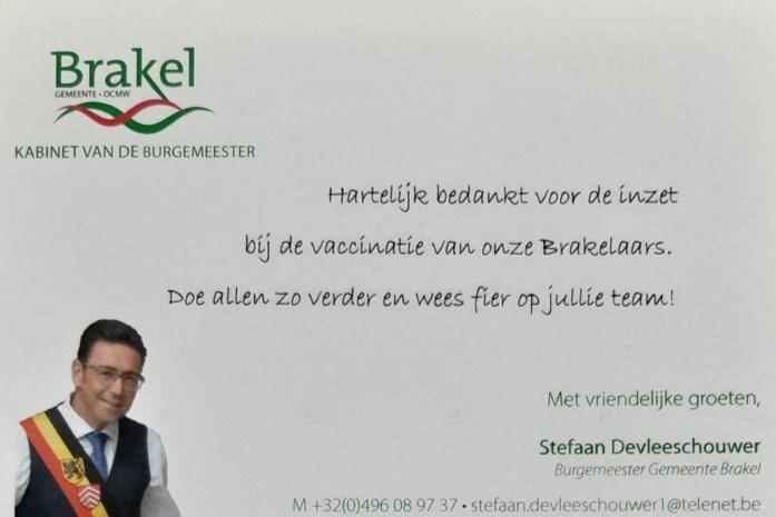 Burgemeester roept op om dankkaartje te sturen naar vaccinatiecentrum
