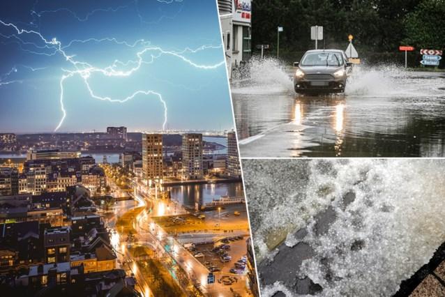 """Onweersbuien slaan toe boven Brussel, nog meer op komst: """"20 tot 30 liter per vierkante meter en hagelbollen tot 3 centimeter groot"""""""