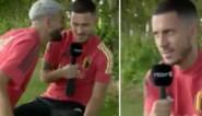 """Yannick Carrasco verstoort interview van Eden Hazard en die is 'not amused': """"Campeoooneesss"""""""