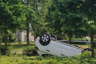 Auto gaat over de kop en belandt in parkje