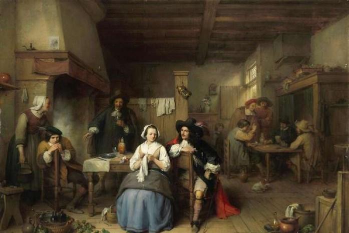 """Gerestaureerd schilderij """"Herbergscène"""" tijdelijk tentoon in toeristisch infokantoor"""