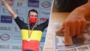 """Kersvers Belgisch kampioen tijdrijden Yves Lampaert leest Het Nieuwsblad en tapt een mop: """"Dan ben je een keer kampioen..."""""""