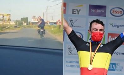"""Belgisch kampioen tijdrijden worden en dan… met de stadsfiets naar huis: """"Is er een schonere coureur dan Yves Lampaert?"""""""