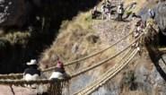 Peruvianen weven 500 jaar oude Incabrug met de hand weer aan elkaar