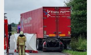 Auto smakt tegen geparkeerde vrachtwagen: chauffeur op slag dood