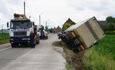 Trucker wijkt uit en kantelt met vrachtwagen in gracht