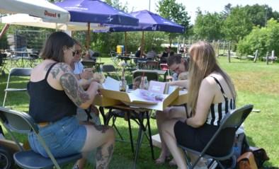 Genieten van een picknick in de schaduw