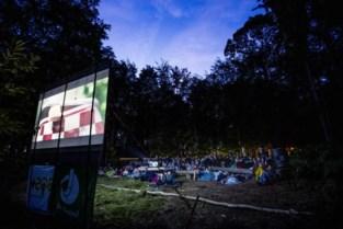 Lillenaren kijken naar film Belgica in een bos