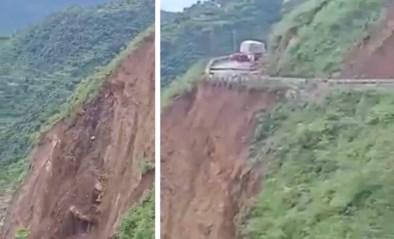 Heftige beelden tonen hoe aardverschuiving weg volledig wegvaagt